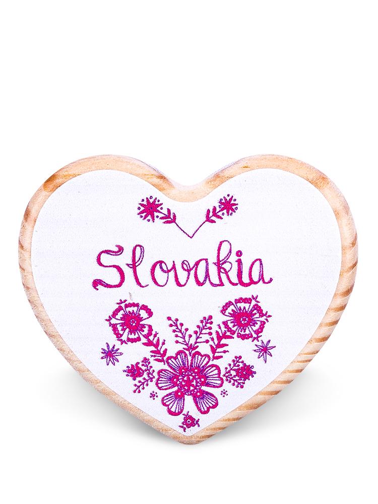 Drevená magnetka Slovakia kvety biela