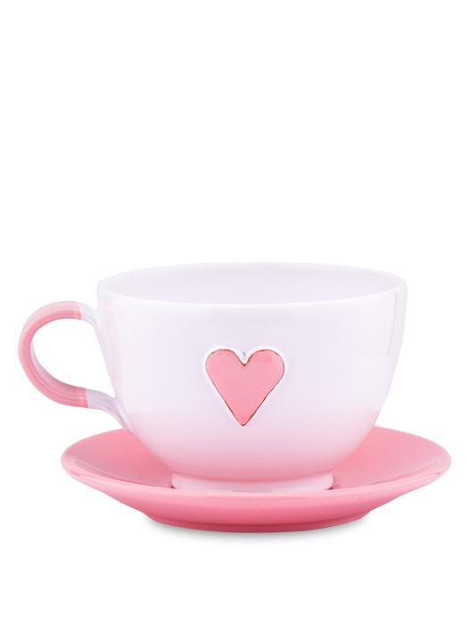 Šálka s tanierikom biela srdce ružové