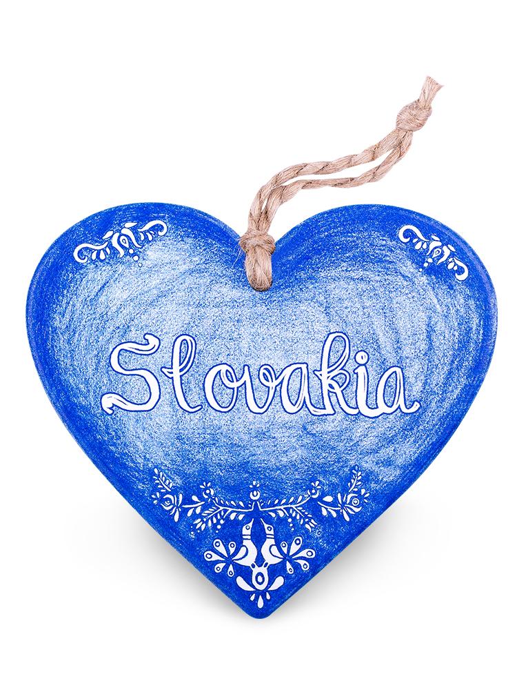 Drevené srdce Slovakia folk - modrá