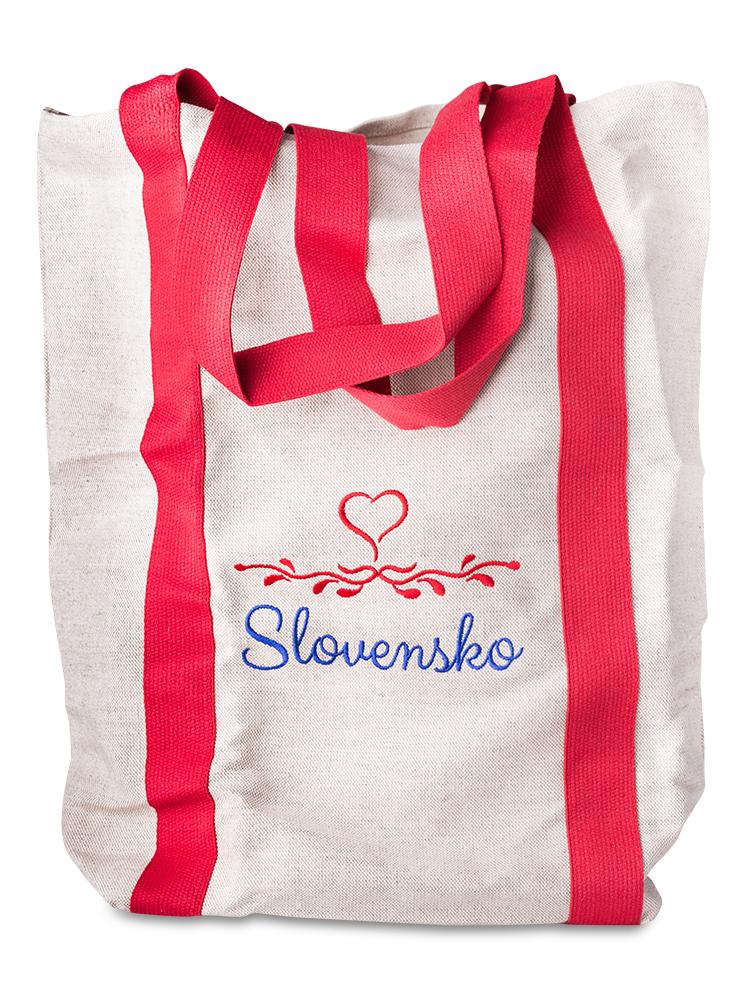 Nákupná ľanová taška Slovensko - červená