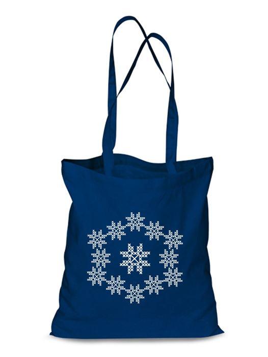 Plátená EKOlogická taška výšivka 09 - dlhá rúčka Modrá
