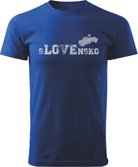 Tričko love Slovensko Unisex Kráľovské modré