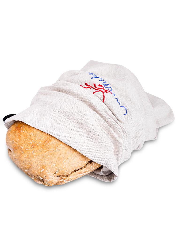 Vrecko na chlieb - ľanové výšivka srdce 45x25cm
