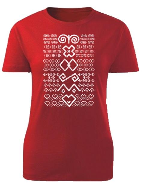 Tričko Čičmany znaky retro Dámske klasik Červené