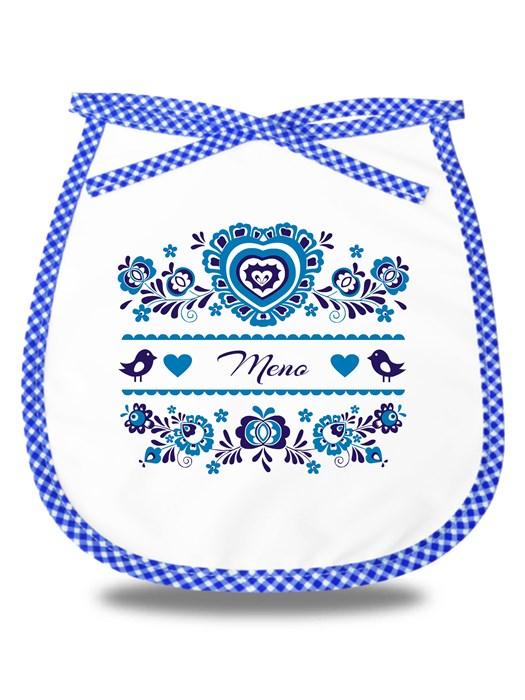 Detský podbradník modrý ornament venovanie Modrý
