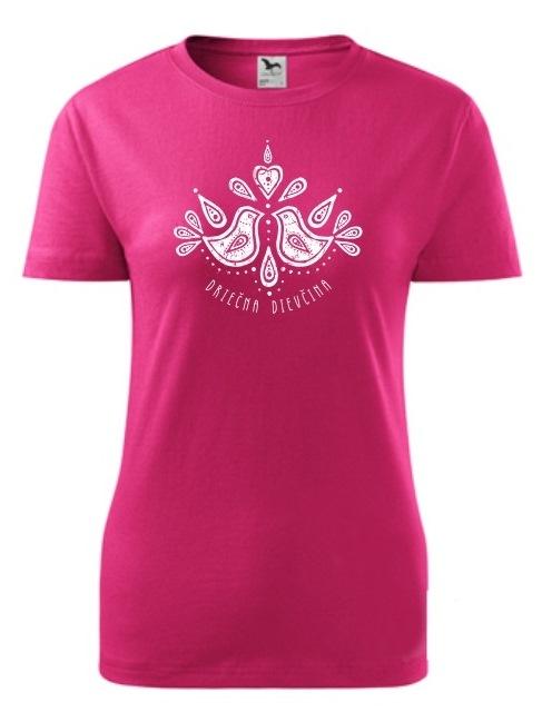 Tričko driečna dievčina folk Dámske klasik Ružové