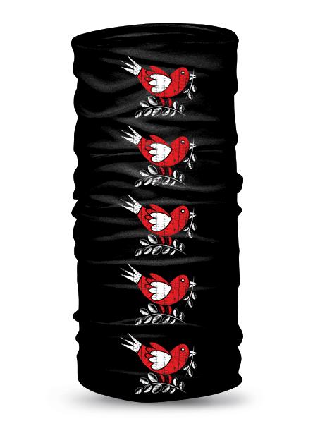 Folklórna multifunkčná šatka vrabec retro Čierna
