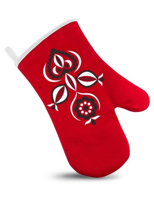 Ľudová chňapka kvety Červená