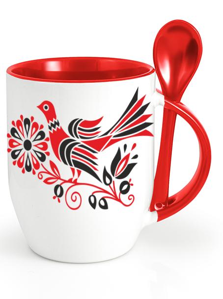 Ľudový pohár bažant Červený