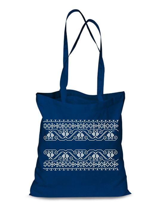Plátená EKOlogická taška výšivka 07 - dlhá rúčka Modrá