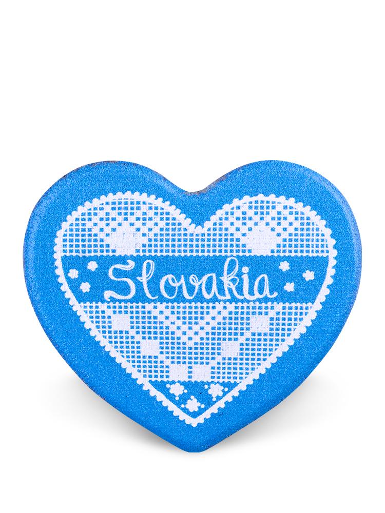 Drevená magnetka Slovakia srdce svetlomodrá