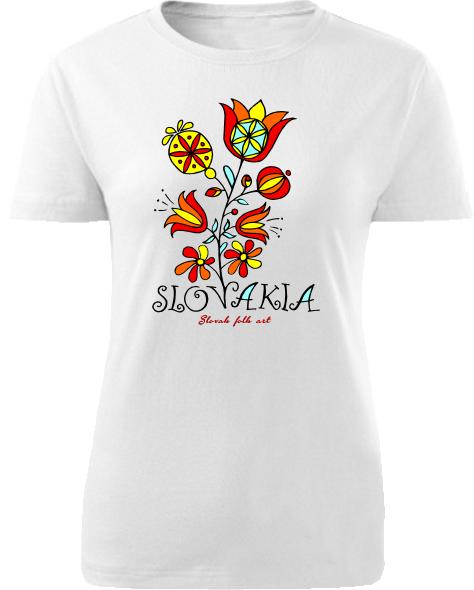 Tričko Slovakia kvet Dámske klasik Biele