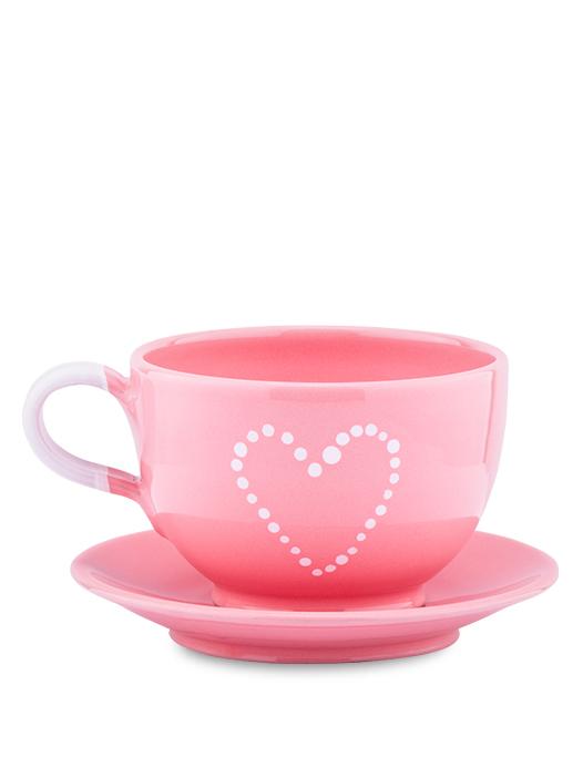 Šálka s tanierikom ružová srdce bodky