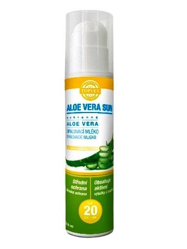 Topvet Opaľovacie mlieko SPF20 Aloe vera 200ml