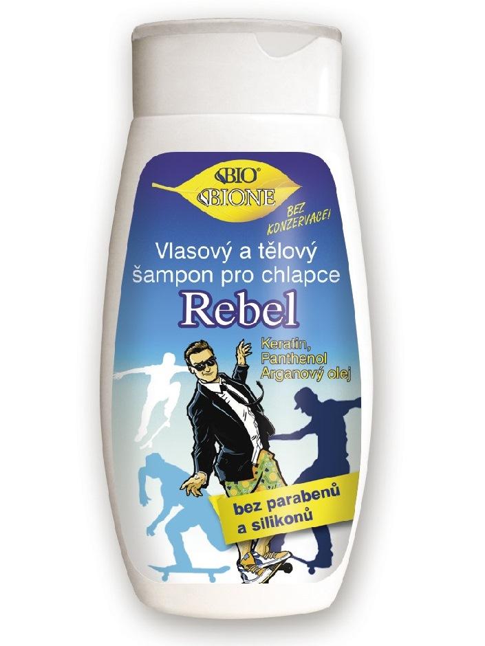 Bione Cosmetics - Vlasový a telový šampón pre chlapcov Rebel 260ml