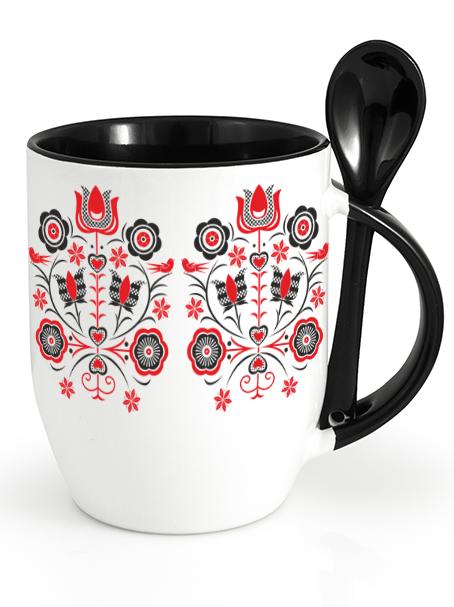 Ľudový pohár kytica Čierny