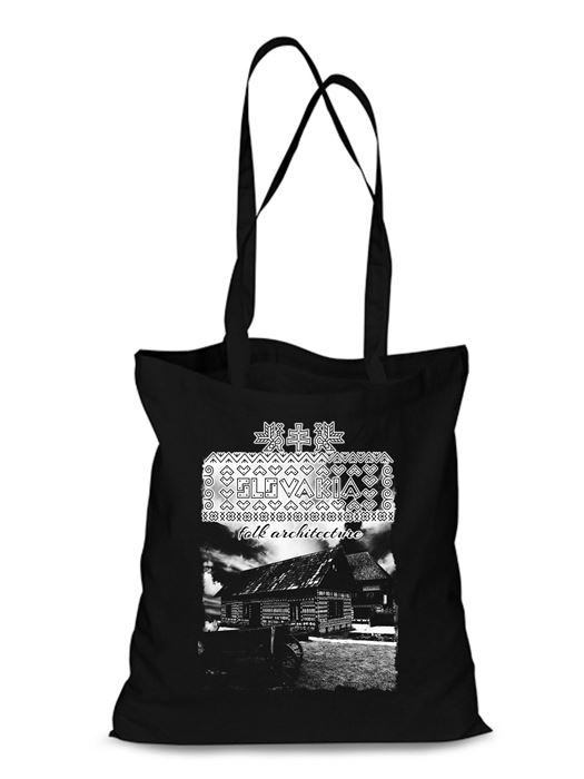 Plátená EKOlogická taška Čičmany chalúpky - dlhá rúčka Čierna