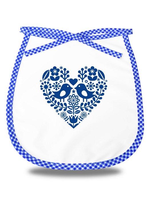 Detský podbradník folklórne srdce Modrý