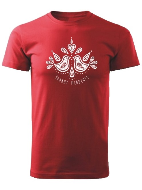 Tričko švárny mládenec folk Unisex Červené