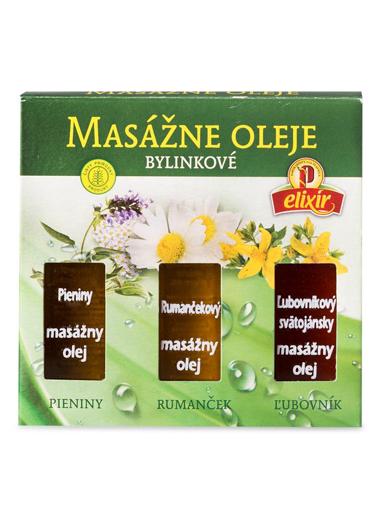 Agrokarpaty Masážne oleje bylinkové: Pieniny, Rumančekový, Ľubovníkový