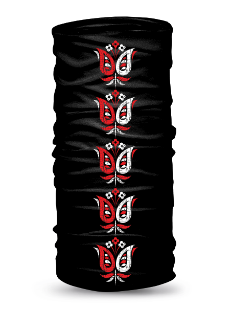 Folklórna multifunkčná šatka fialka retro Čierna