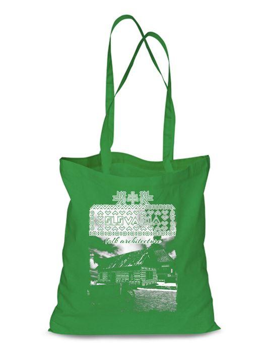 Plátená EKOlogická taška Čičmany chalúpky - dlhá rúčka Zelená