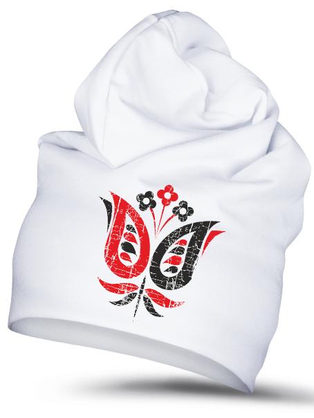 Folklórna čiapka fialka retro Biela