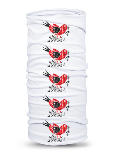 Folklórna multifunkčná šatka vrabec retro Biela