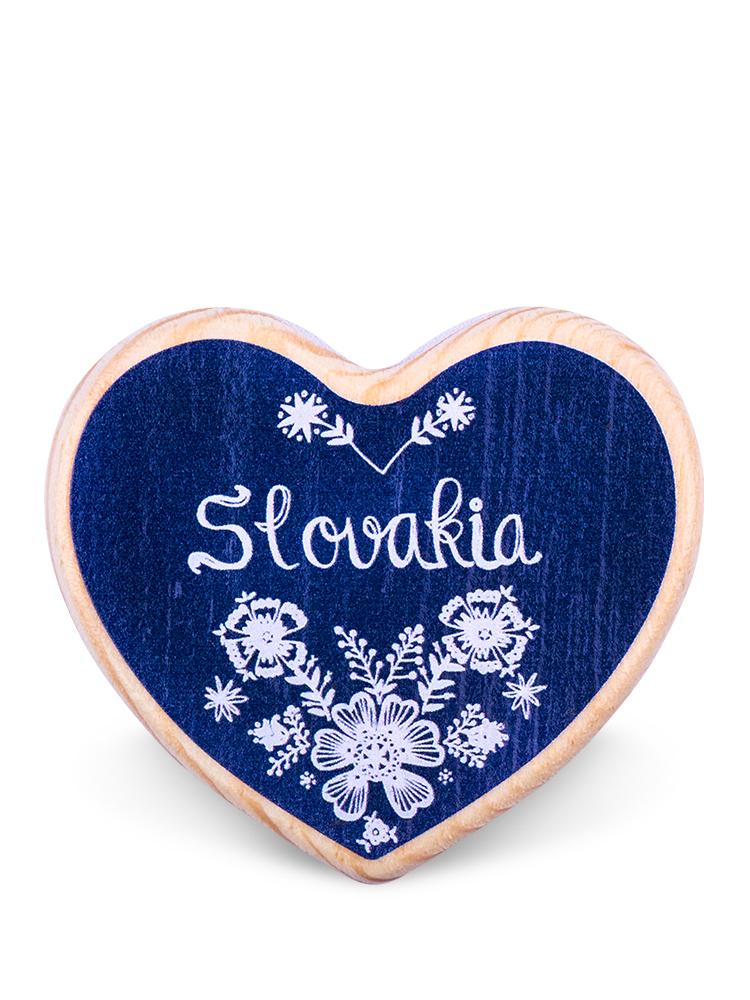 Drevená magnetka Slovakia kvety modrá