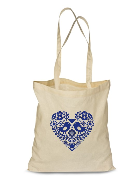 Plátená EKOlogická taška folklórne srdce - dlhá rúčka Natural