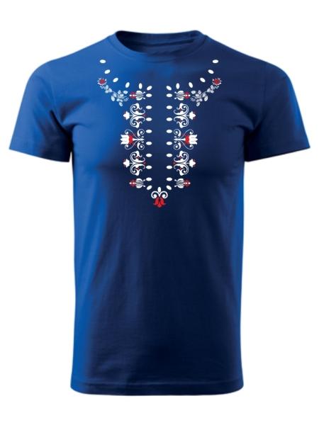Tričko ľudová košieľka Unisex Kráľovské modré