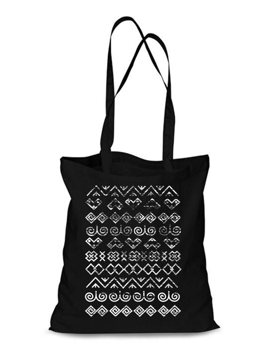 Plátená EKOlogická taška Čičmany retro - dlhá rúčka Čierna
