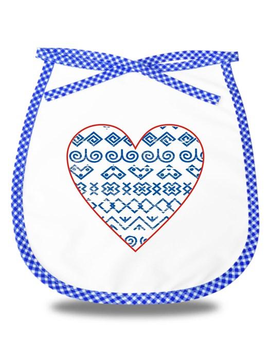 Detský podbradník čičmanské srdce retro Modrý
