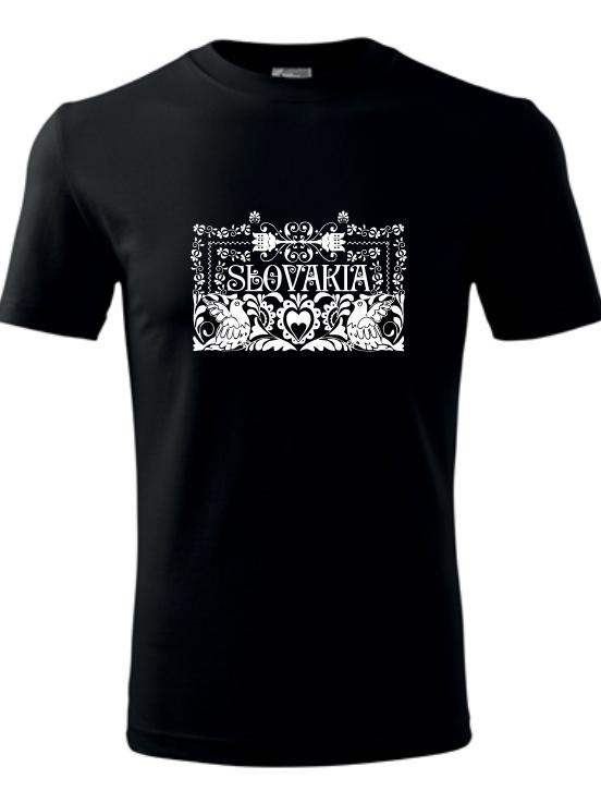 Tričko ľudový ornament Unisex Čierne