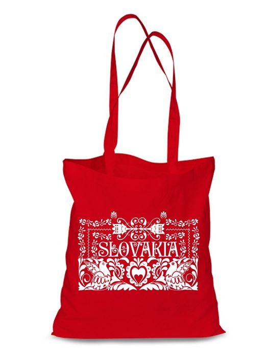 Plátená EKOlogická taška ľudový ornament - dlhá rúčka Červená