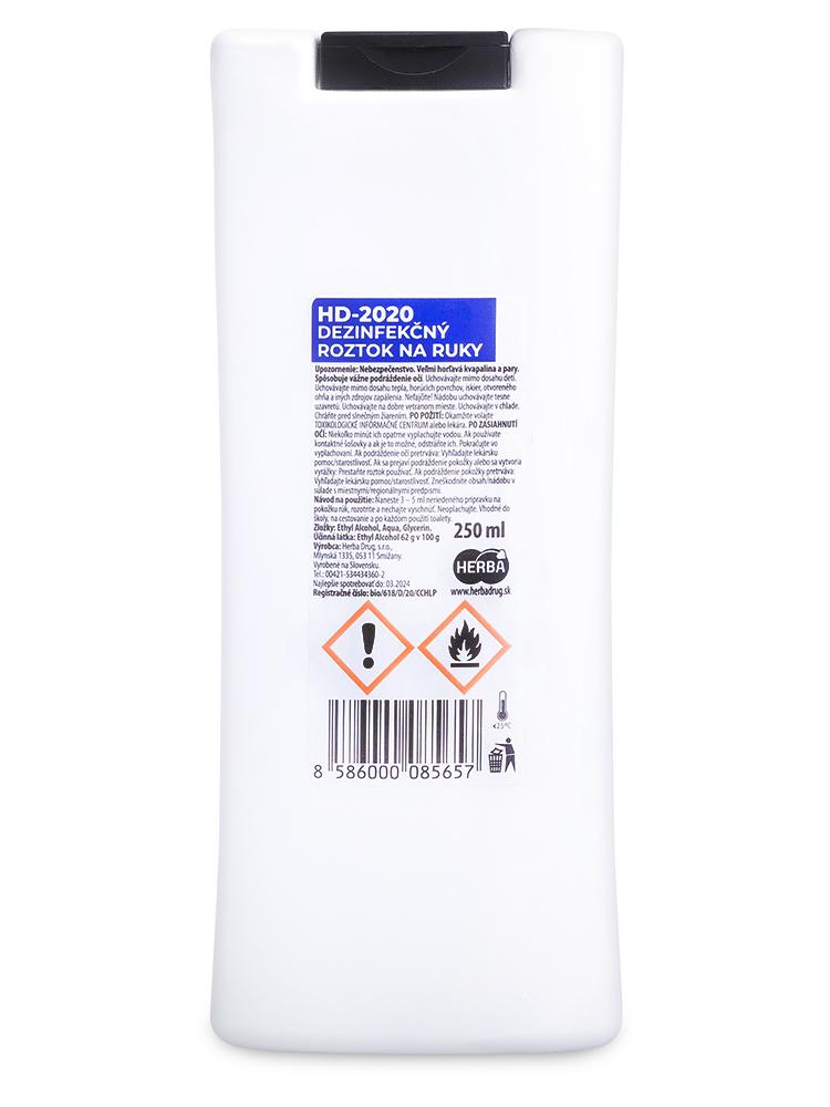 HD 2020 dezinfekčný roztok na ruky 250ml
