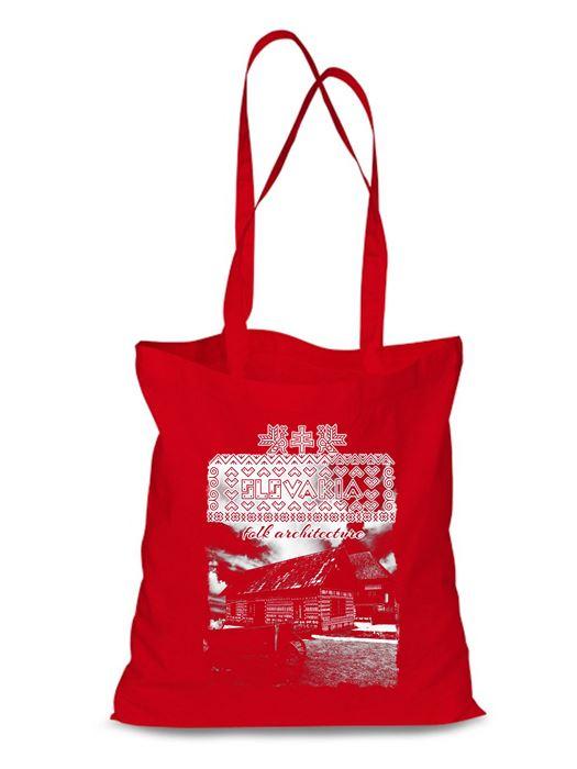 Plátená EKOlogická taška Čičmany chalúpky - dlhá rúčka Červená