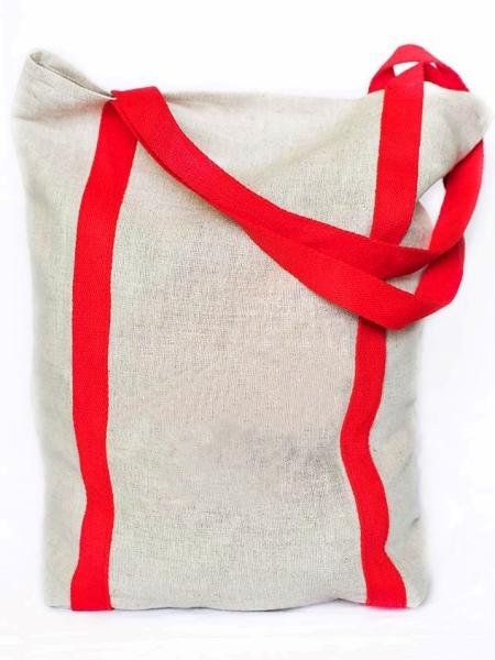 Nákupná ľanová taška - červená