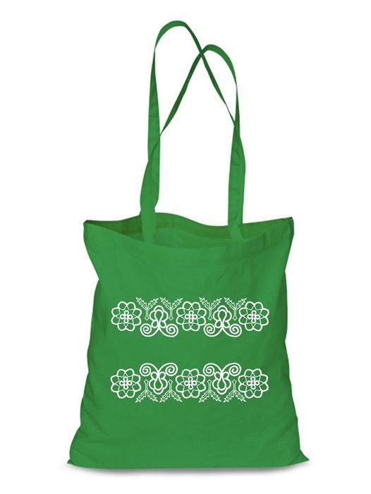 Plátená EKOlogická taška výšivka 08 - dlhá rúčka Zelená