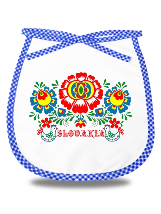 Detský podbradník Slovakia kvet 1 Modrý