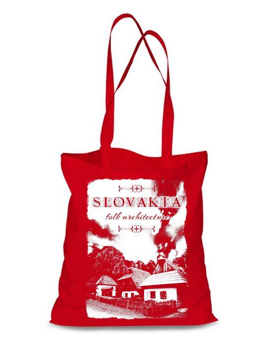 Plátená EKOlogická taška chalúpky - dlhá rúčka Červená