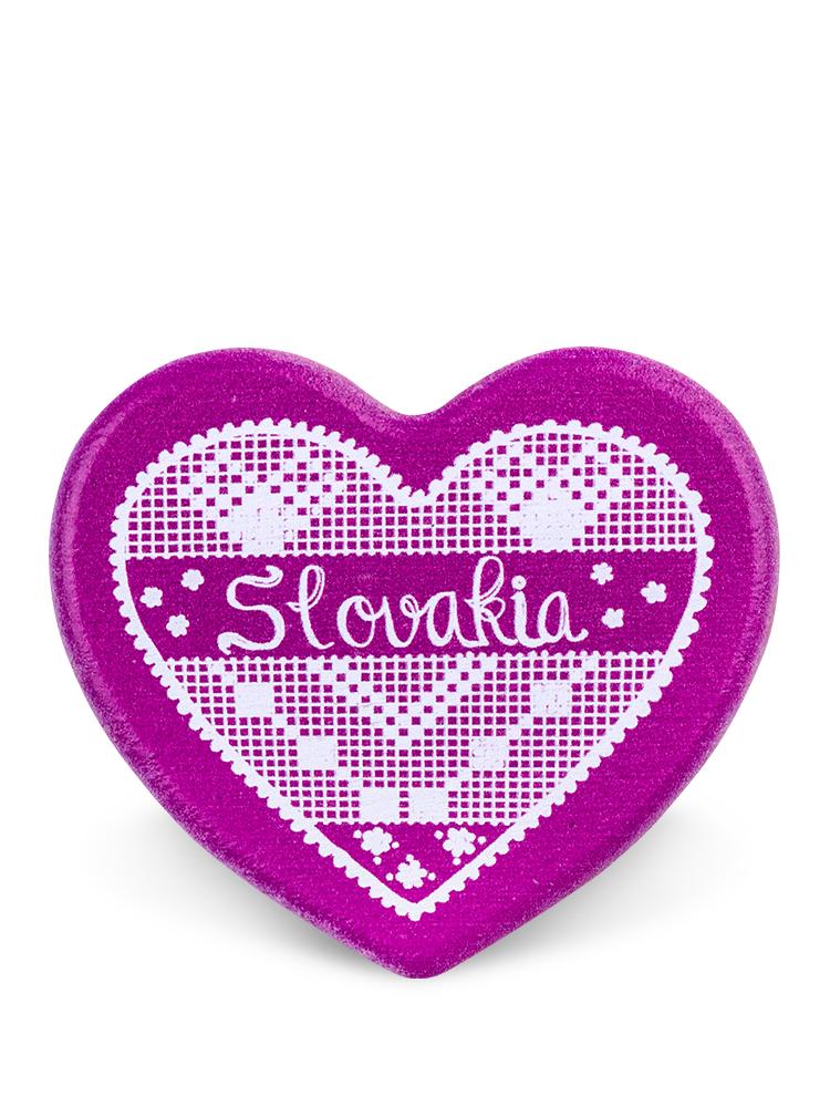 Drevená magnetka Slovakia srdce fialová