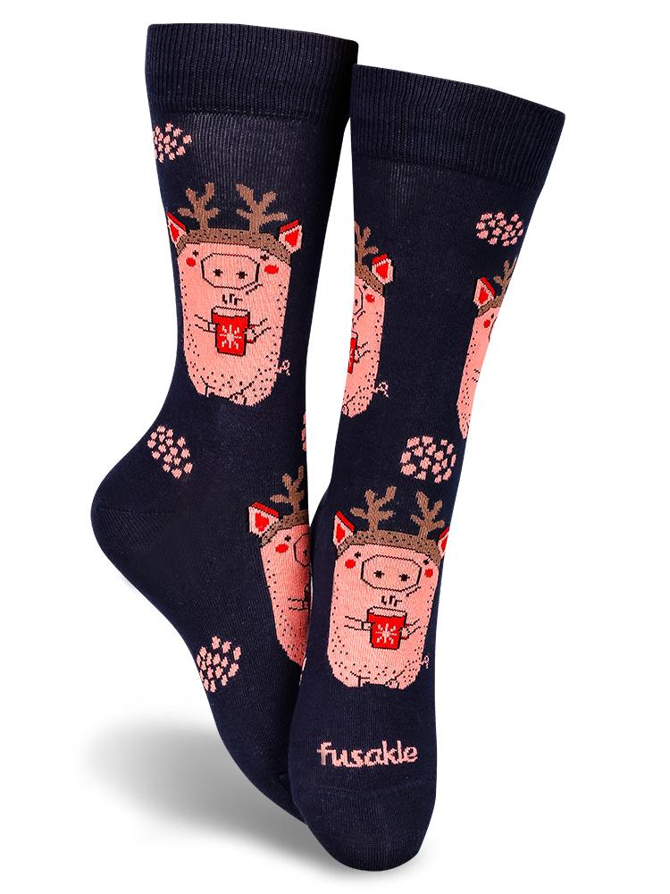 Fusakle ponožky Prasiatko v zime