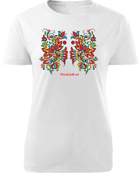 Tričko Slovak folk art kvety Dámske klasik Biele