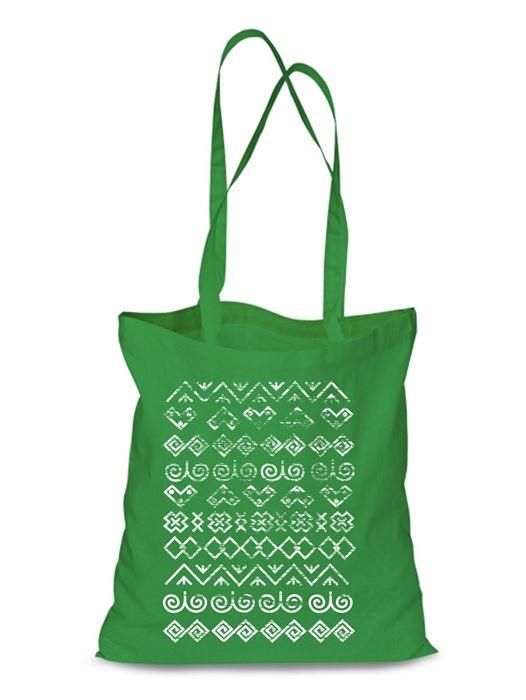 Plátená EKOlogická taška Čičmany retro - dlhá rúčka Zelená
