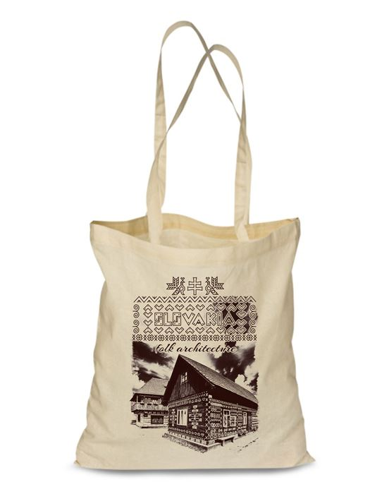 Plátená EKOlogická taška Čičmany chalúpka - dlhá rúčka Natural
