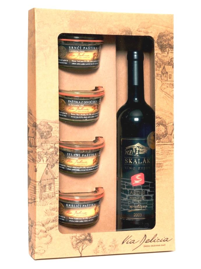 Darčeková kazeta Via Delicia na 4 paštéty+1 víno-hnedá