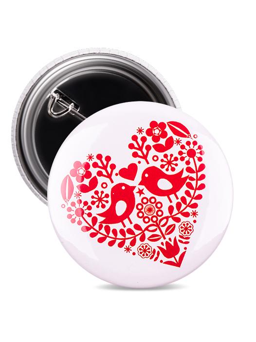 Odznak folklórne srdce červené