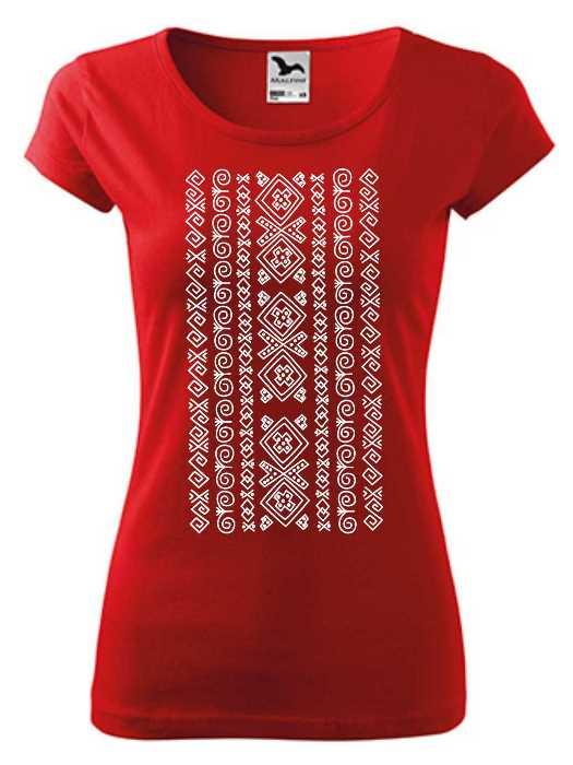 Tričko čičmanský ornament Dámsky pure Červené