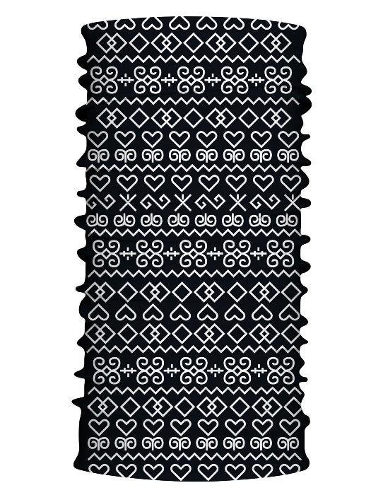 Multifunkčný šál čičmany čierny 7104